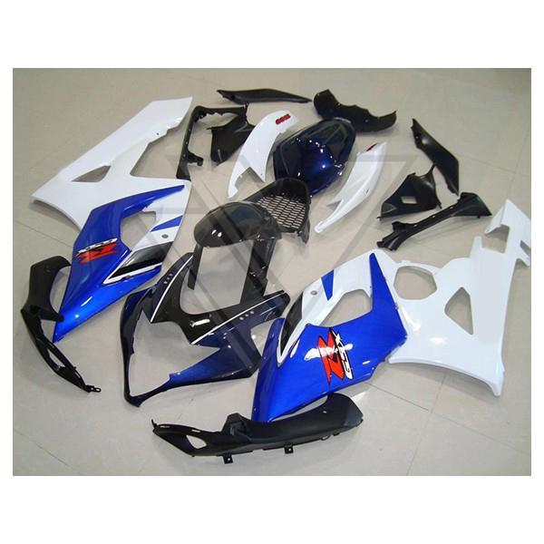 Custom fairings for Suzuki GSX-R1000 2005-2006 GSXR 1000 R1000 05 06 white blue fairing,free decals