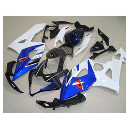 Wholesale Decal Suzuki - Custom fairings for Suzuki GSX-R1000 2005-2006 GSXR 1000 R1000 05 06 white blue fairing,free decals