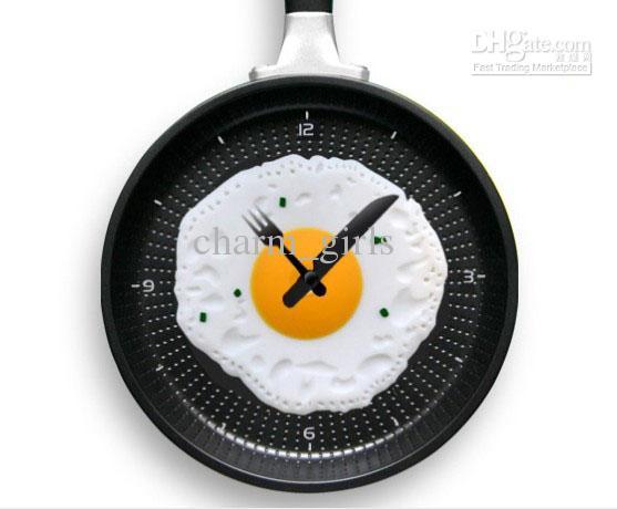 Novelty Clock Creative Wall Clocks Fried Eggs Pan Shaped