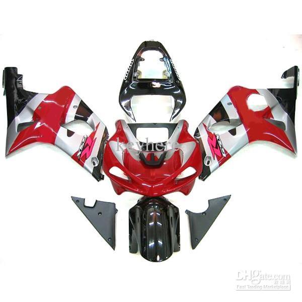 1セットフェアリゾート鈴木GSX R1000 00 01 02 gsxr1000 2000 2002赤/シルバーキット、デカールを無料で追加