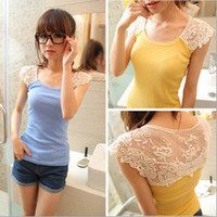 Wholesale Pink Tank Top Small - Sweet girl's crocheted lace slim fit sleeveless t-shirt Small vest Lady's sexy cotton Primer shirt