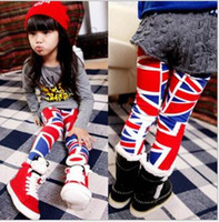 Wholesale Dandys Leggings - Children 2016 autumn girls cute flag pattern leggings, 5pcs lot, dandys
