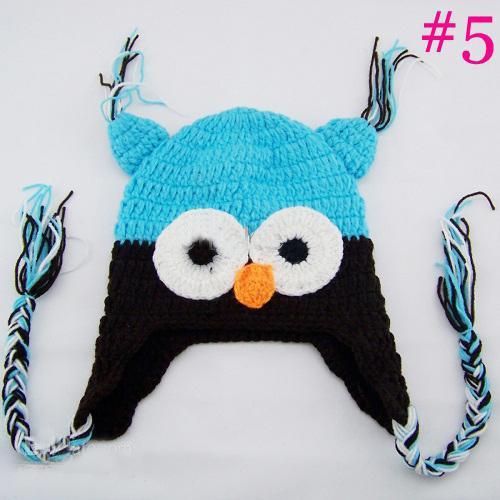 20 pcs * Coruja EarFlap Chapéu De Crochê Do Bebê Handmade Crochet gorro Chapéu Handmade OWL chapéu De Malha meninas