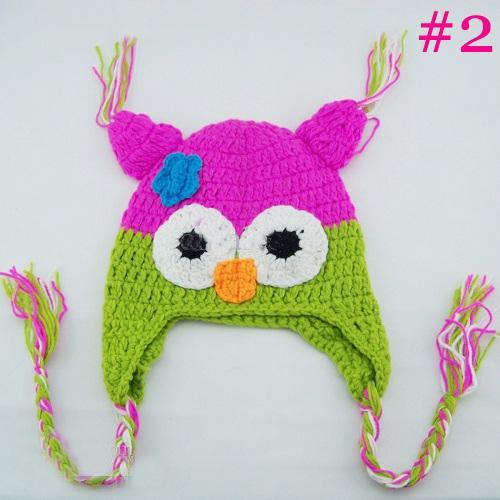 20 pcs * Hibou EarFlap Crochet Chapeau Bébé À La Main Crochet Bonnet Chapeau À La Main OWL Tricoté Chapeau Filles