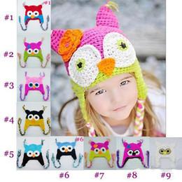 $enCountryForm.capitalKeyWord Australia - 20pcs* Owl EarFlap Crochet Hat Baby Handmade Crochet beanie Hat Handmade OWL Knitted hat girls