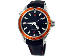 Planet Ocean Orange Leather Canada - luxury MENS Planet Ocean 42mm Mens Automatic ORANGE BEZEL Diver Watch Leather strap Men's Watches