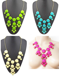 Wholesale Acrylic Bubble Chain Bib Necklace - idealway New Hot Sale Acrylic Bubble Necklace Gold Chain Bib Statement Fashion Necklace 3 colors 5 pieces lot