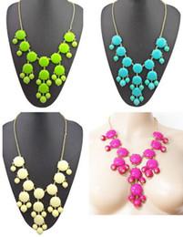 Wholesale Circle Bubble Necklace - idealway New Hot Sale Acrylic Bubble Necklace Gold Chain Bib Statement Fashion Necklace 3 colors 5 pieces lot
