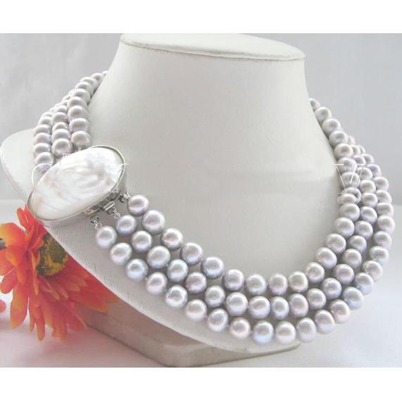 新しい到着クリスマスギフトジュエリー素晴らしいAA9-10mm 3回の灰色のラウンド本物の真珠のネックレス