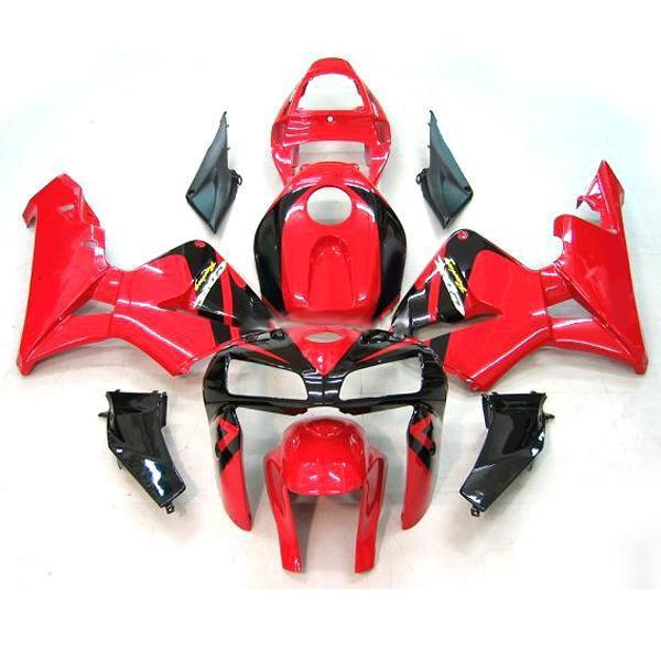 Kit corpo carene personalizzate Honda CBR600RR 05 06 CBR-600RR 2005 2006 Kit carenature RED / Black,