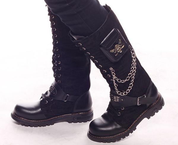 Du En En Chaussures Métal US Pour En Acheter CoolTaille 10 Noires 5 LacetsCrâne De95 Daim À 48 GenouBouclesBottes 6 HommesBottes Au Métal QrCsthd