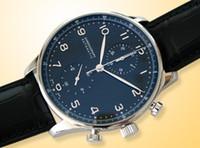 Wholesale Chronograph Pilot Watch - Luxury Mens Mechanical Portuguese Chronograph Watch Black Pilot Men Leather Watches Dive Wristwatch