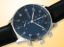 Wholesale Black Pilot Watch - Luxury Mens Mechanical Portuguese Chronograph Watch Black Pilot Men Leather Watches Dive Wristwatch