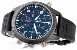 Wholesale leather men coat - Rare Mens Casual Pilots Watch Black DLC Coating Fliegeruhr Men Automatic Pvd Sport Wristwatch