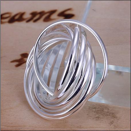 100% ny högkvalitativ 925 silver nio varv ringar mode unisex smycken gratis frakt