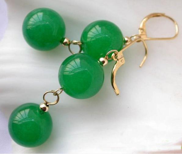 Ny Ankomst Julklapp Smycken Stora 14mm Naturlig rund Grön Jade Bead Dangle Örhänge 14K-20 Guld