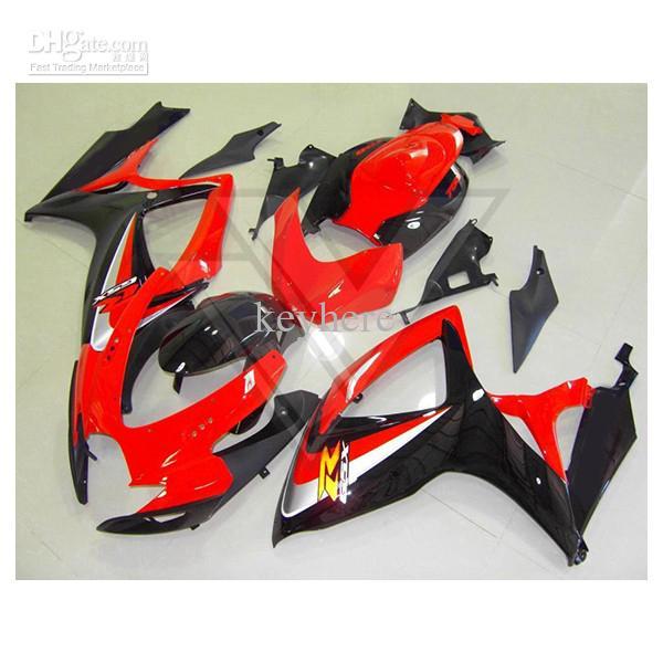 AJUSTE DE ABS PARA Motocycle Suzuki GSXR 600 750 06-07 Kit de carenado GSX-R600 R750 2006-2007 Rojo / Negro