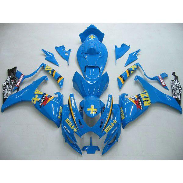 鈴木GSXR 600 750 06-07 GSX R600 R750 2006 2007 Blue Rizla +のための注文のボディキットABSフェアリングキット