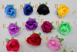 Wholesale Silk Purple Rose Flower Heads - 220Pcs 3cm Rose Buds Camellia Silk Simulation Artificial Tea Rose Flower Heads for Wedding Party Home Decoration