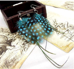Wholesale Dangle Feather Earings - Beautiful peacock feather earings fashion jewelry long feather earrings with colorful spot 5