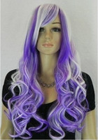 "Wholesale Long White Wig Curly - WOMEN""S purple white mixed LONG curly Cosplay FULL WIG wigs +gift"