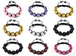 Wholesale Disco Ball Resin - 10pcs lot Disco Ball 9pcs 12MM Resin Crystal Beads Bracelets Hematite Beads Bracelet