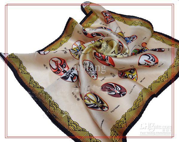 Урожай небольшой 100% шелковый шарф Китай площади Опера Маска Дизайн 10 шт. / лот смешать цвет бесплатно