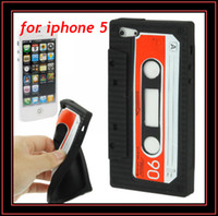 Wholesale Tape Gel Rubber Skin - Retro Tape Cassette Soft Silicone Rubber Skin Gel Case Cover for Apple iphone 5 5G 5th Mix Colours