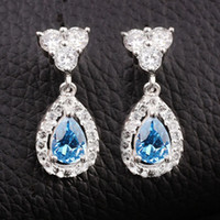 Wholesale Blue Topaz Drop Earrings - 6-pair Fashion Drop Earrings Dangle Piercing Pin Jewelry EH0116 Earring with Topaz Blue Cubic Zirconia Jewelry Wholesale Price