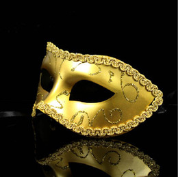Dust Mask Sale Canada - Free shipping~Masquerade Shock Toys Half Face Mask Gold Dust Mask Men Party Accessories Hot Sales