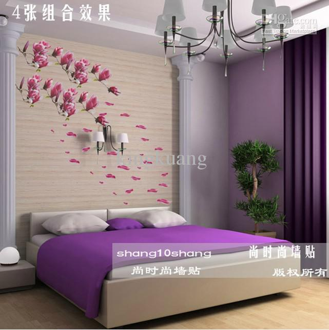Removable Wall Stickers,Bedroom,Living Room TV Wall Art Stickers,Magnolia  Flowers Wall Sticker Decal Retro Wall Stickers Reusable Wall Decals From ...