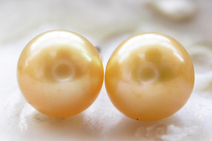 Neu kommen Weihnachtsgeschenkschmucksachen AA8-9mm gelbe Farben-runde Frischwasserperlen-Ohrring S925 Silber an
