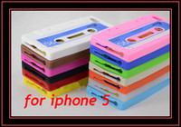 Wholesale Tape Gel Rubber Skin - Classic Retro Itape Tape Cassette Silicone Skin Gel Case Cover for iphone 5 5th Soft Rubber Shell