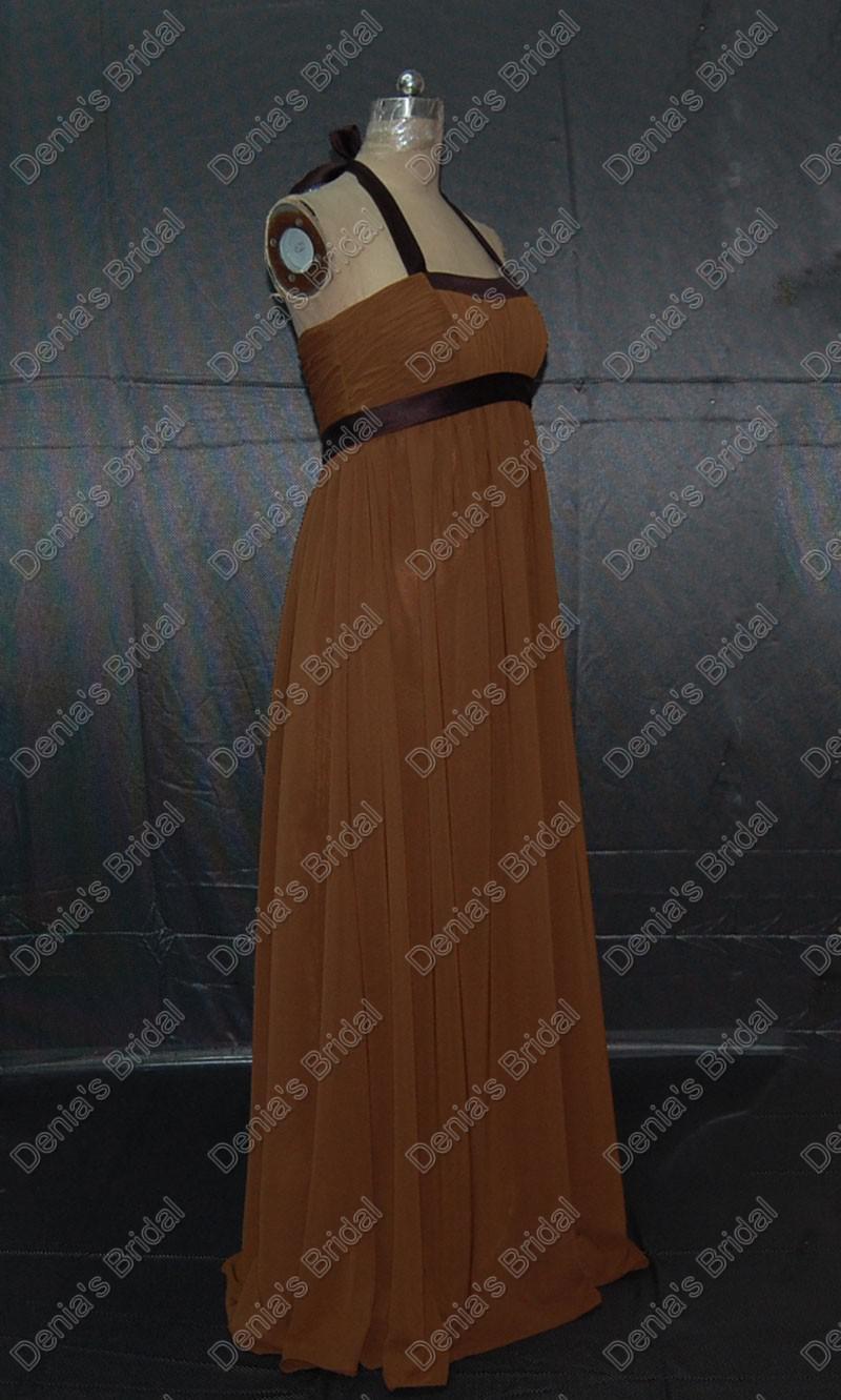 Vintage Brown cabestro vestidos de damas de honor de gasa con elástico vaina Banda reales Imágenes reales DB131