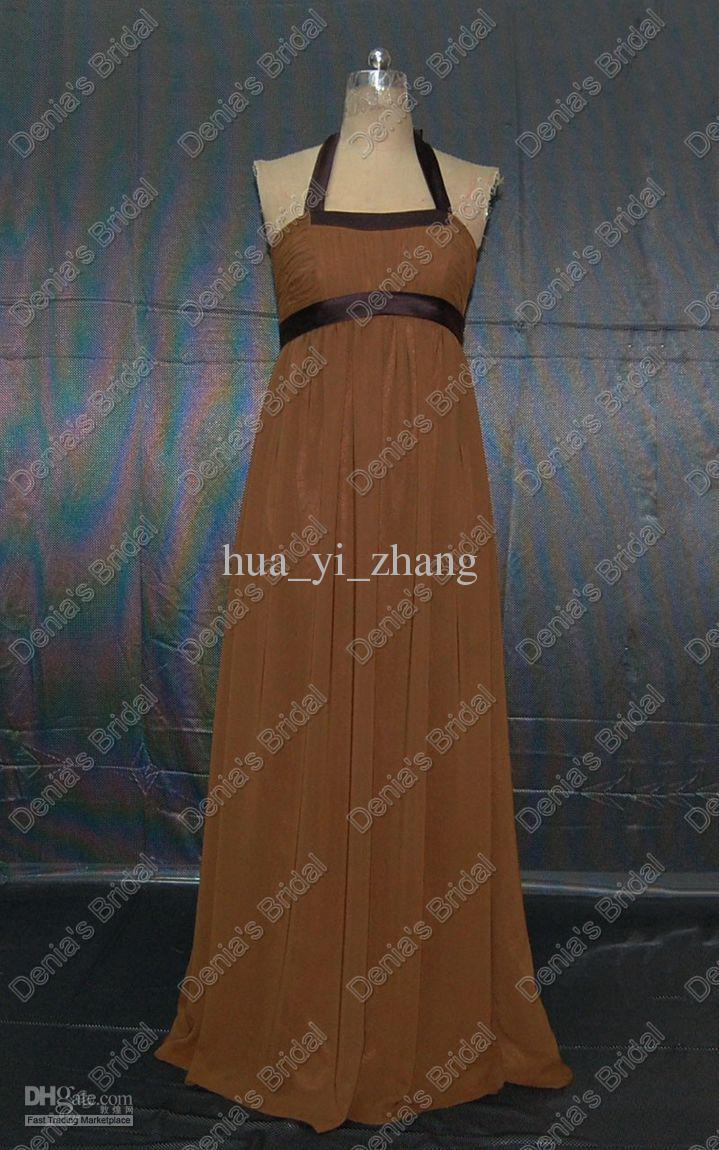 Mousseline de soie Halter Vintage Brown demoiselles d'honneur robes avec élastique gaine Sash images réelles réelles DB131
