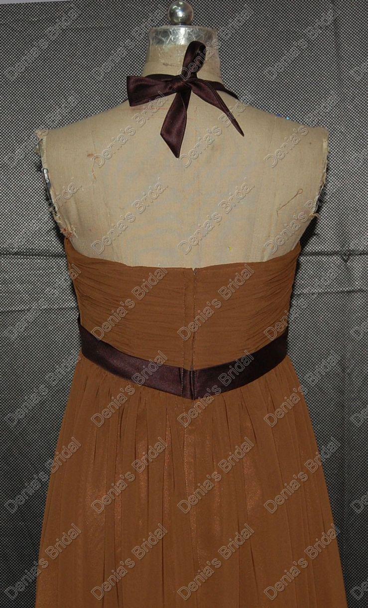 Vintage Halter Brown Bridesmaids Kleider Chiffon mit elastischem Mantel Sash Echt Tatsächliche Bilder DB131