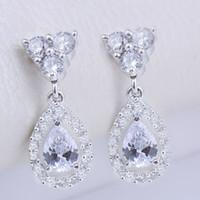 ingrosso ciondola gli orecchini di pera-New Fancy Women Fashion Orecchini Pear Clear White Topaz Stone EH0126 Yin Dangle Piercing Pin