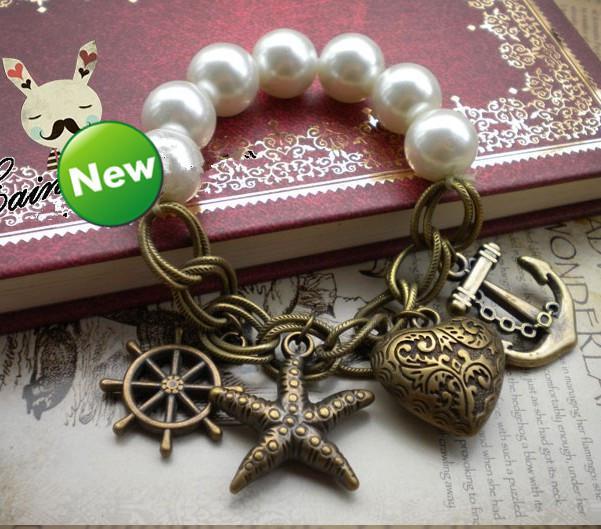 Pulseras de mar de estrellas de estiramiento de perlas Pulseras de mar de estilo de mar