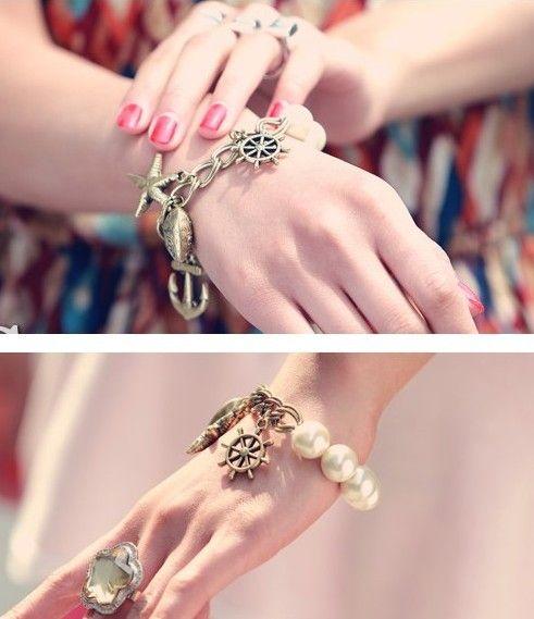 Perle Stretch Seestern Armbänder Bronze Sea Style Armbänder