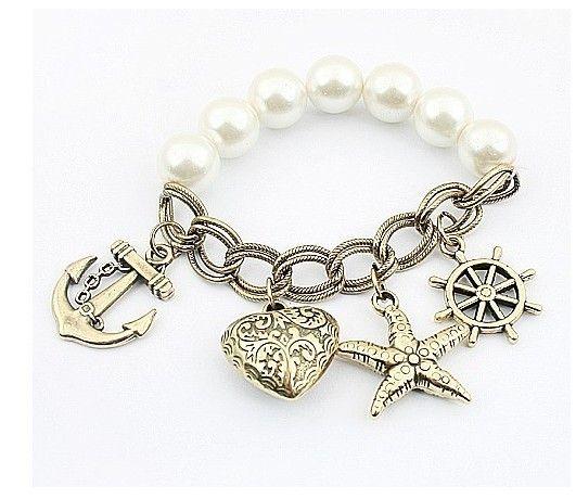 Bracelets d'étoile de mer stretch de perle Bracelets de style de mer en bronze