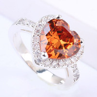 Wholesale Citrine Sets - Lady Silver Wedding Ring 10X10 Heart Cut Brown Citrine J7408 Yin Jewelry Party Wear Size 6