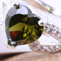 ingrosso grandi anelli solitari-Ladies Silver Wedding Solitaire 10X10Mm Big Heart Green Peridot J7418 Yin Size 8