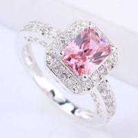 Wholesale Pink Cz Stone - New Stylish Lady Cocktail Silver Ring 6X8Mm Rectangle Stone Pink Cz J7414 Yin Free Shipping Size 7
