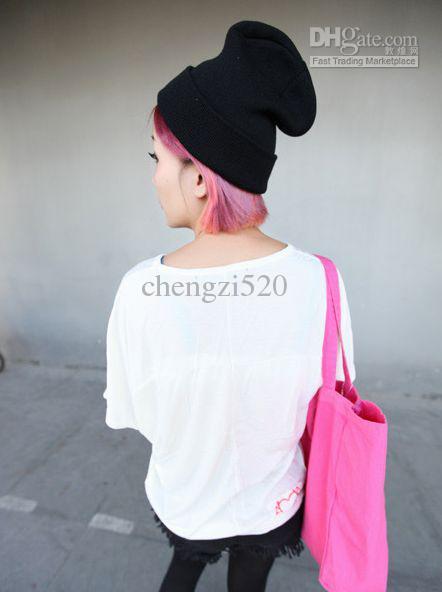 蛍光色のニットキャップヘッドギアユニセックススタイルのウールキャップヒップホップの帽子