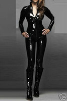 Qualität Leder Sexy WOmens Zipeer Körperanzug Catsuit Schwarz Glänzend PVC Bodysuit Kostüm Zipper Clubwear Frauen Fancy Dress