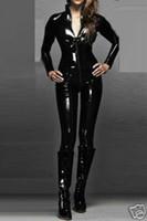 Wholesale Shiny Black Pvc Dress - Quality Leather Sexy WOmens Zipeer Body suit Catsuit Black Shiny PVC Bodysuit Costume Zipper Clubwear Women Fancy Dress