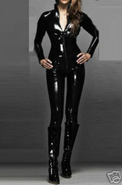 Barato Vestidos Brilhantes Clubwear-Qualidade Couro Sexy WOmens Zipeer Body suit Catsuit Preto Shiny PVC Bodysuit Costume Zipper Clubwear Mulheres Fancy Dress