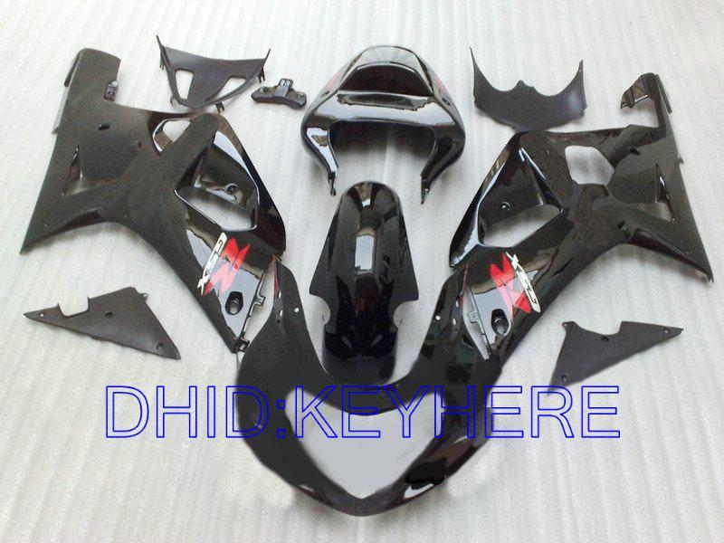 Toutes les pièces de carrosserie noires pour SUZUKI GSXR 600 750 2001 2002 2003 GSXR600 GSXR750 01 02 03 kit de carénage