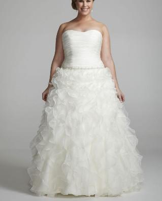 Discount New Plus Size Ivory Strapless Organza Ball Gown With