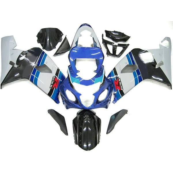 스즈키 GSXR 600 750 04 05를위한 맞춤형 bodykit 페어링 키트 GSX-R600 R750 2004-2005 파란색 / 흰색 차체